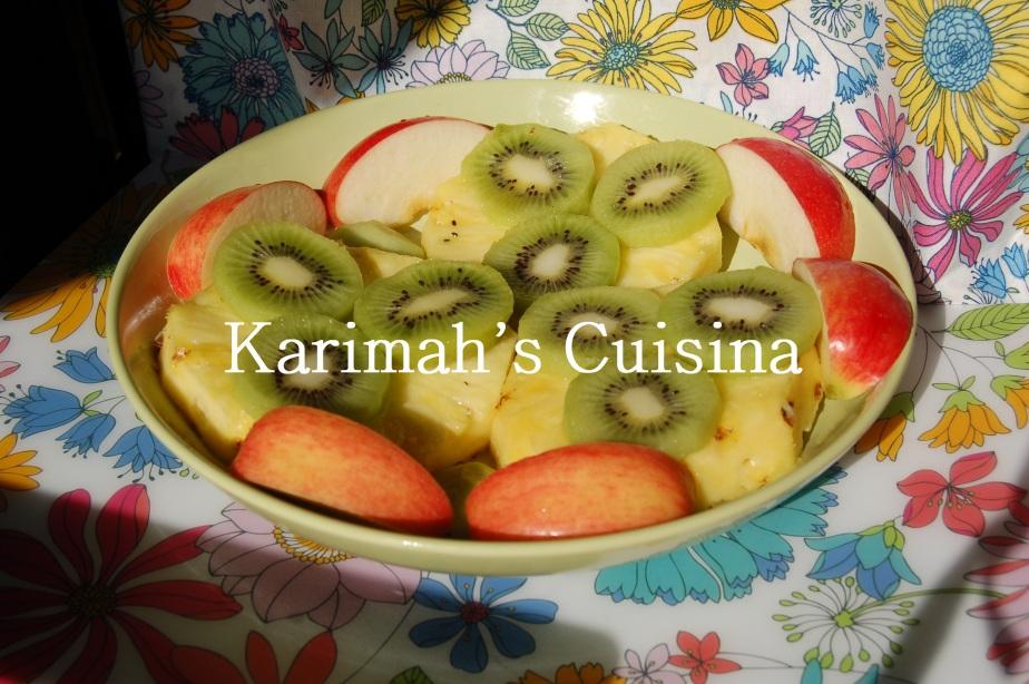 Fruits, pineapple, kiwi and apple.