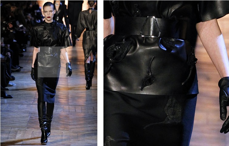 YSL SEVERE LEATHER WITH ORGANIC DETAILS