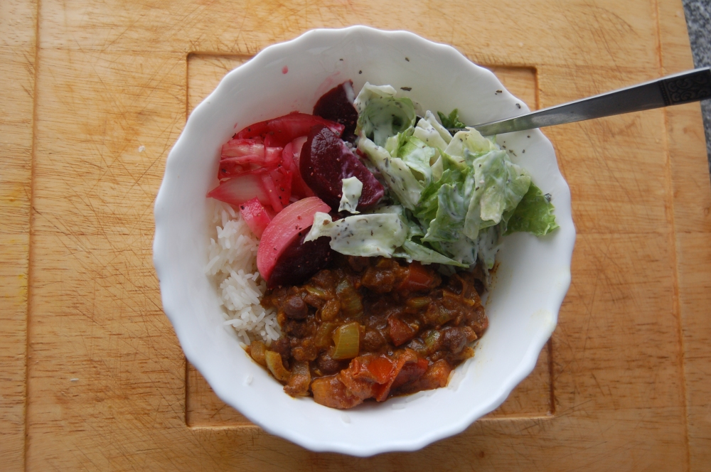 FOOD FOR COLDS - CURRIED BEAN AND RICE AND SALADS
