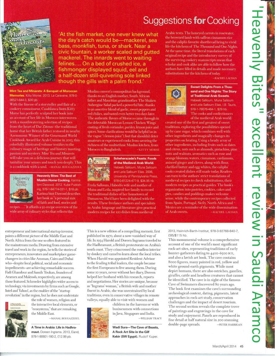 "'Heavenly Bites "" review in Saudi Amraco magazine"