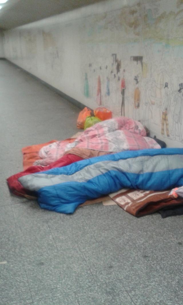 Sleeping Mummies and Daddies...it was freezing last night, no room at the inn